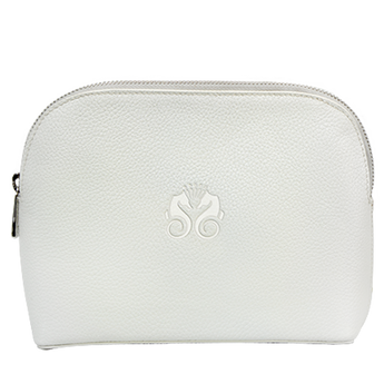 Ivory Leather Amenity Bag
