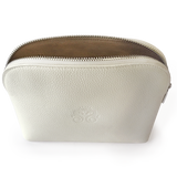BEST SELLER! Beautiful Italian Designed Ivory Leather Amenity Bag