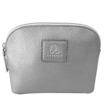 BEST SELLER! Beautiful Italian Designed Silver Leather Amenity Bag
