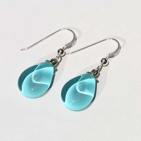 Colombia - Tear Drop Glass Teal Earrings