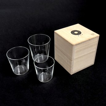 Japan - Sake Glasses Set (3) in traditional Kiri wooden gift box