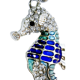 Philippines - Blue/Teal Enamel & Crystals Seahorse Keyring