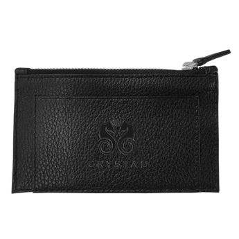 Slim Travel Key Card Leather Wallet - Black