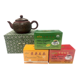 China - Yixing Marble Teapot and Chinese Tea Selection