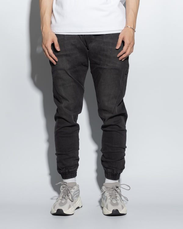 UT029XBK | WASHED DENIM JOGGERS-JOGGERS-UNTOUCHED UNITED