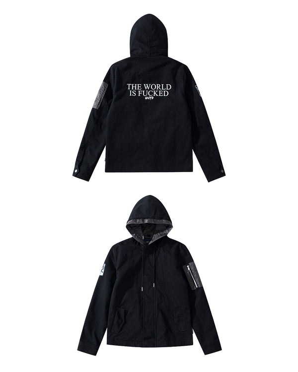 UT119BK | FUCKED HOODED JACKET-JACKET-UNTOUCHED UNITED