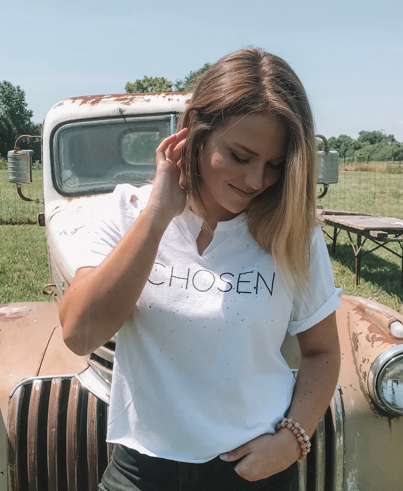 CHOSEN Distressed Cropped Tee