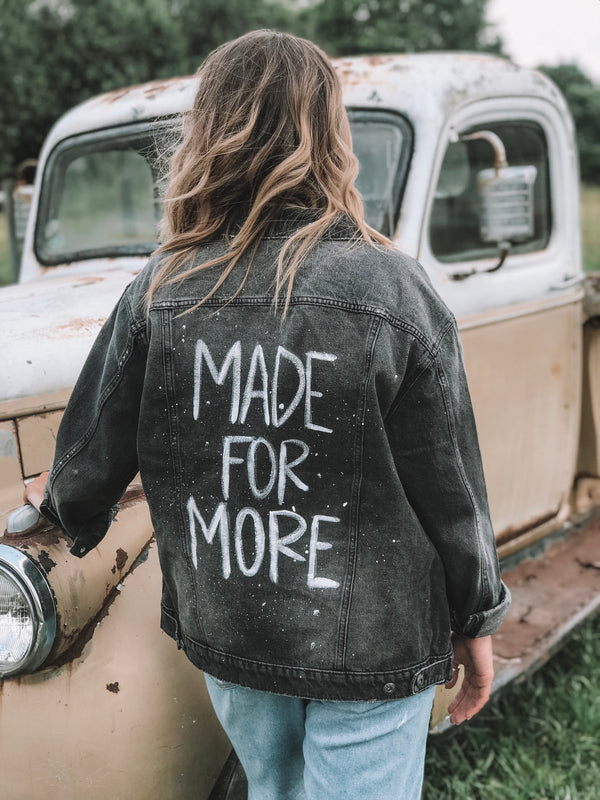 MADE FOR MORE Distressed Black Denim Jacket