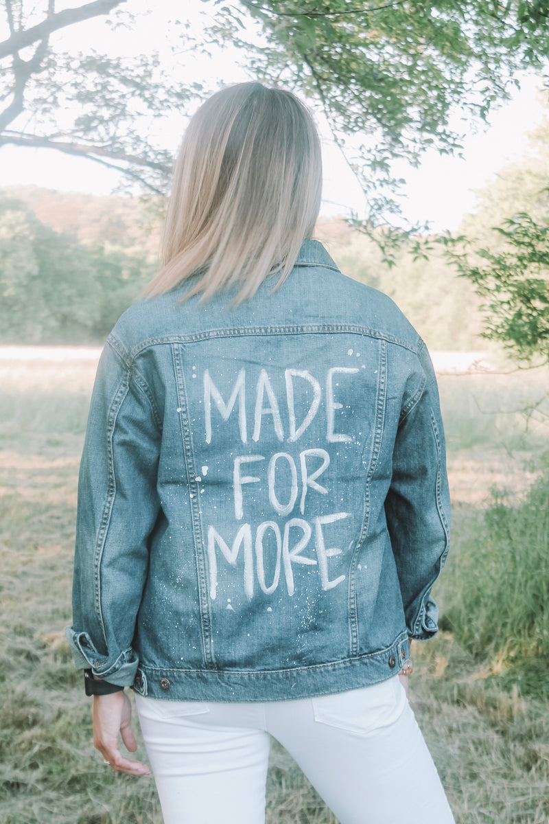 MADE FOR MORE Distressed Denim Jacket