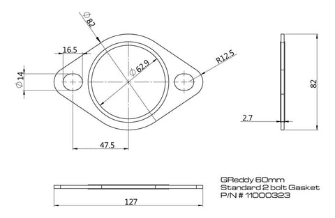 Replacement Exhaust Gaskets for GReddy Exhausts - Oval, 2-bolt