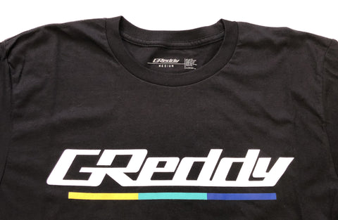 GReddy Logo Tee (with 3 stripes under) - Black