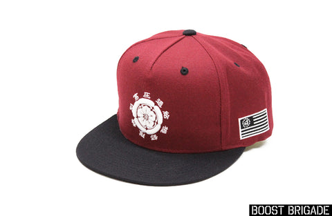 Boost Brigade Blossom Logo Snap-back Cap - Burgundy / Black