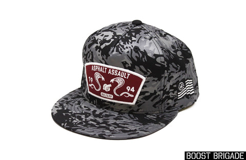 Boost Brigade Asphalt Assault Logo Snap-back Cap - Turbo Camo Print