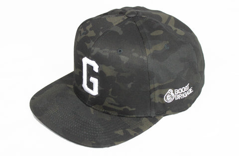 "GPP ""G"" Snap-Back Cap - Black Multi-Cam / White"