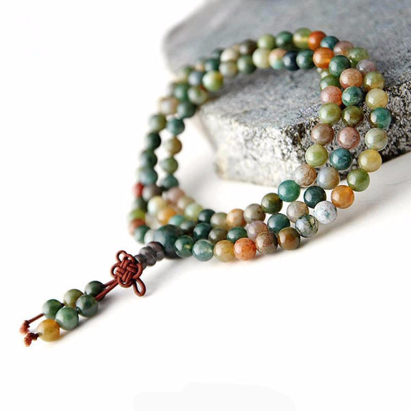 6mm Natural Jade  Beaded Mala Bracelet - 108 Meditation Beads