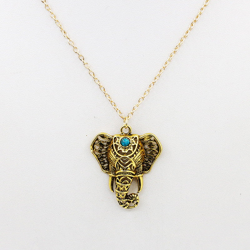 Free - Antique Elephant Necklaces with Turquoise stone.