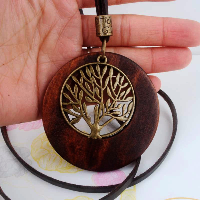 Wooden Tree of Life Pendant Necklace