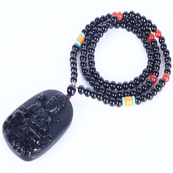 Natural obsidian stone 6mm - 108 Tibetan Buddhist Mala prayer bracelet  with Buddha Pendant
