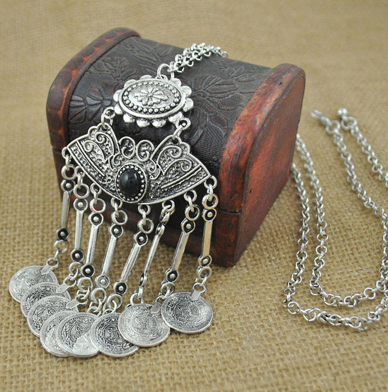 Bohemian Vintage Coin Sweater Necklace