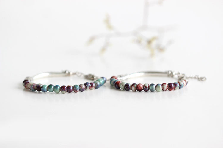 Handmade Ceramic Beaded Bracelets with Tibetan Silver