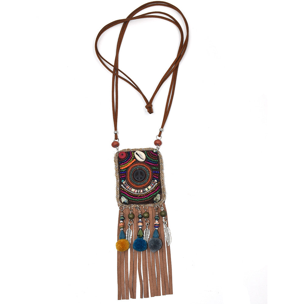 New Handmade Boho beaded Peace necklace with Fringe