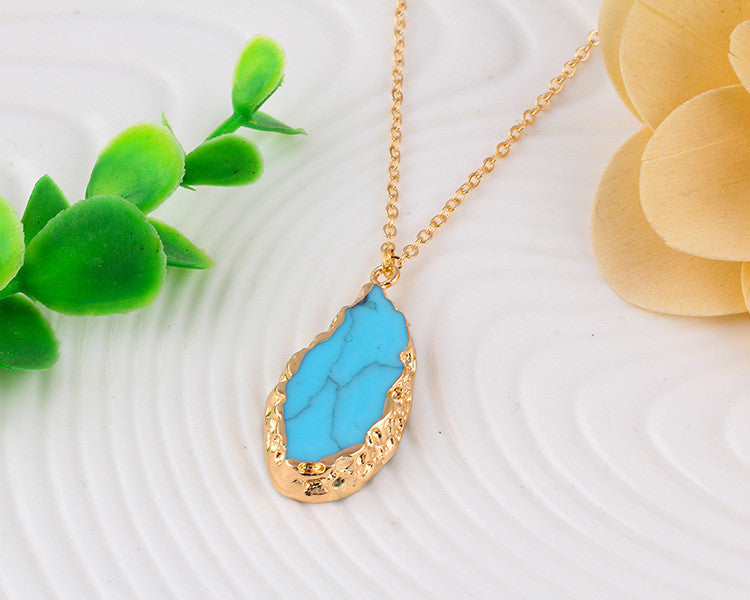 Natural Stone Teardrop Necklace