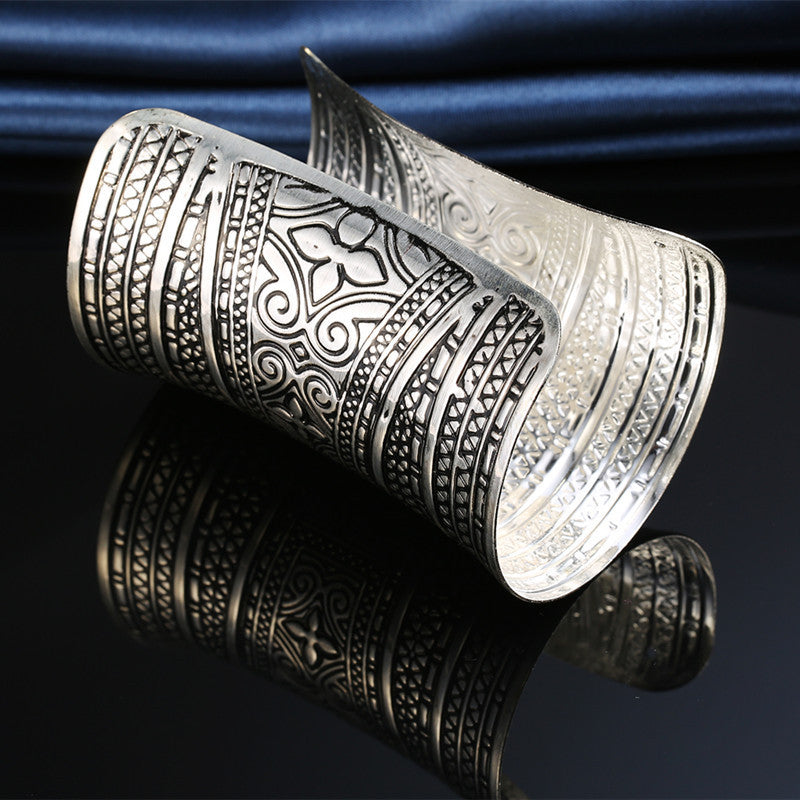 Silver Tribal carved cuff bangle