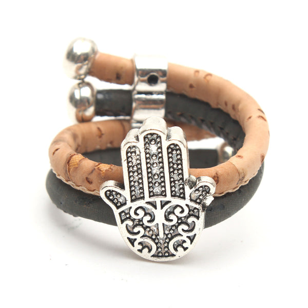 Natural Cork Hand of Fatima or Hamsa Ring