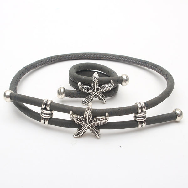 Natural Cork Handmade Starfish Ring and Bracelet