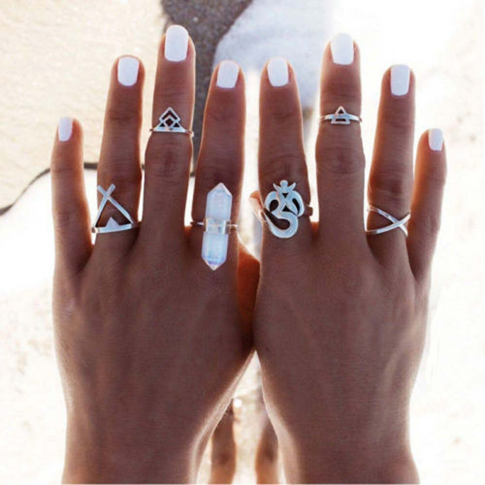 Boho Adjustable Midi Rings 6pc Set