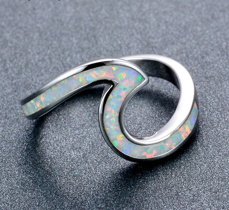 Wave Ring - 925 Sterling Silver and White Fire Opal