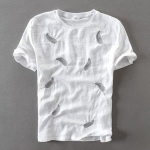 Embroidered Feather Linen T-Shirt (2 colors)