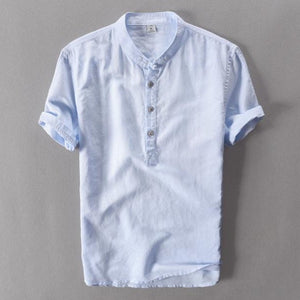 Vintage-Collared Linen Shirt