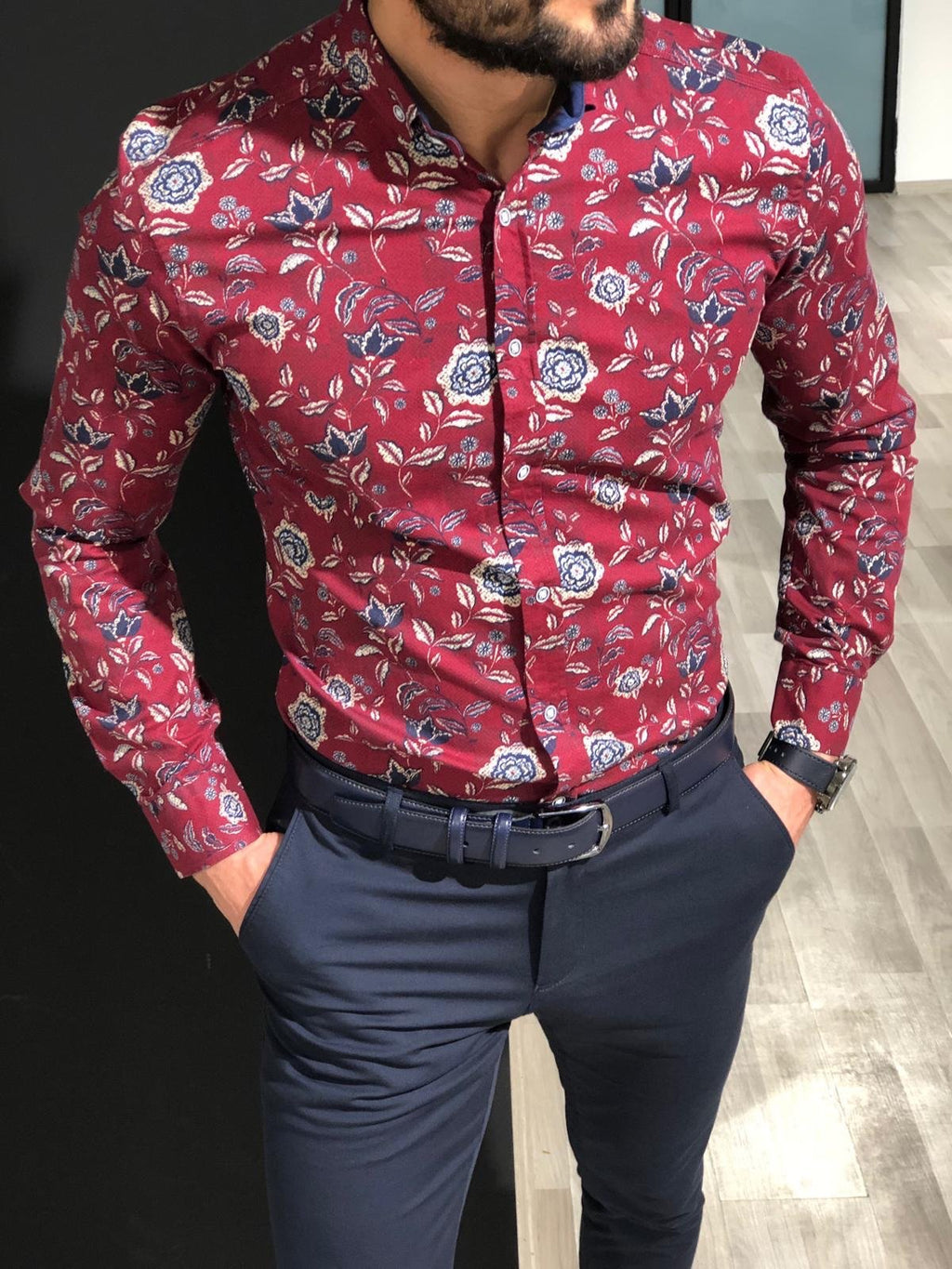 Slim-Fit Buttoned Shirt Claretred