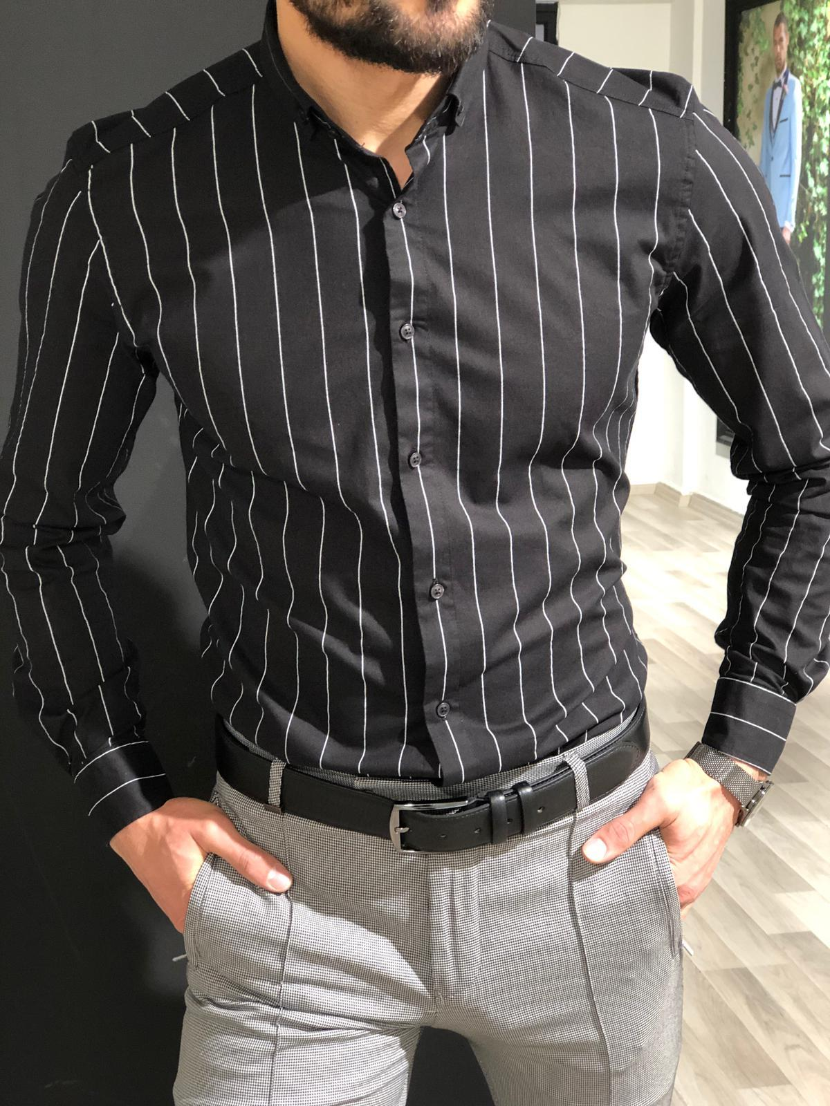 Capstone Black Striped Shirt