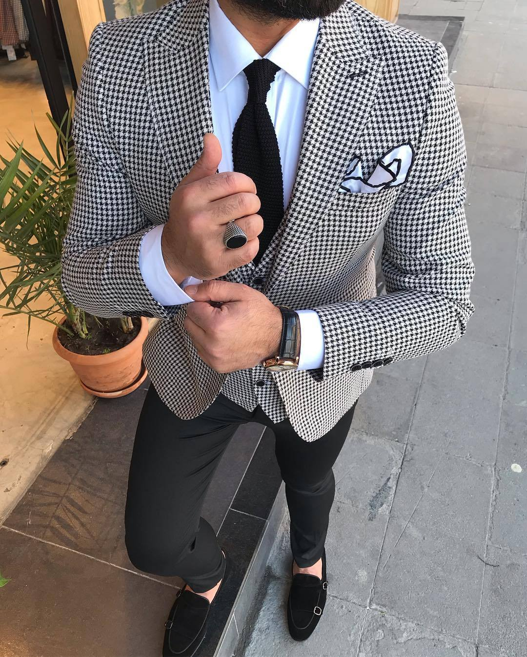 Havana White Checked Suit
