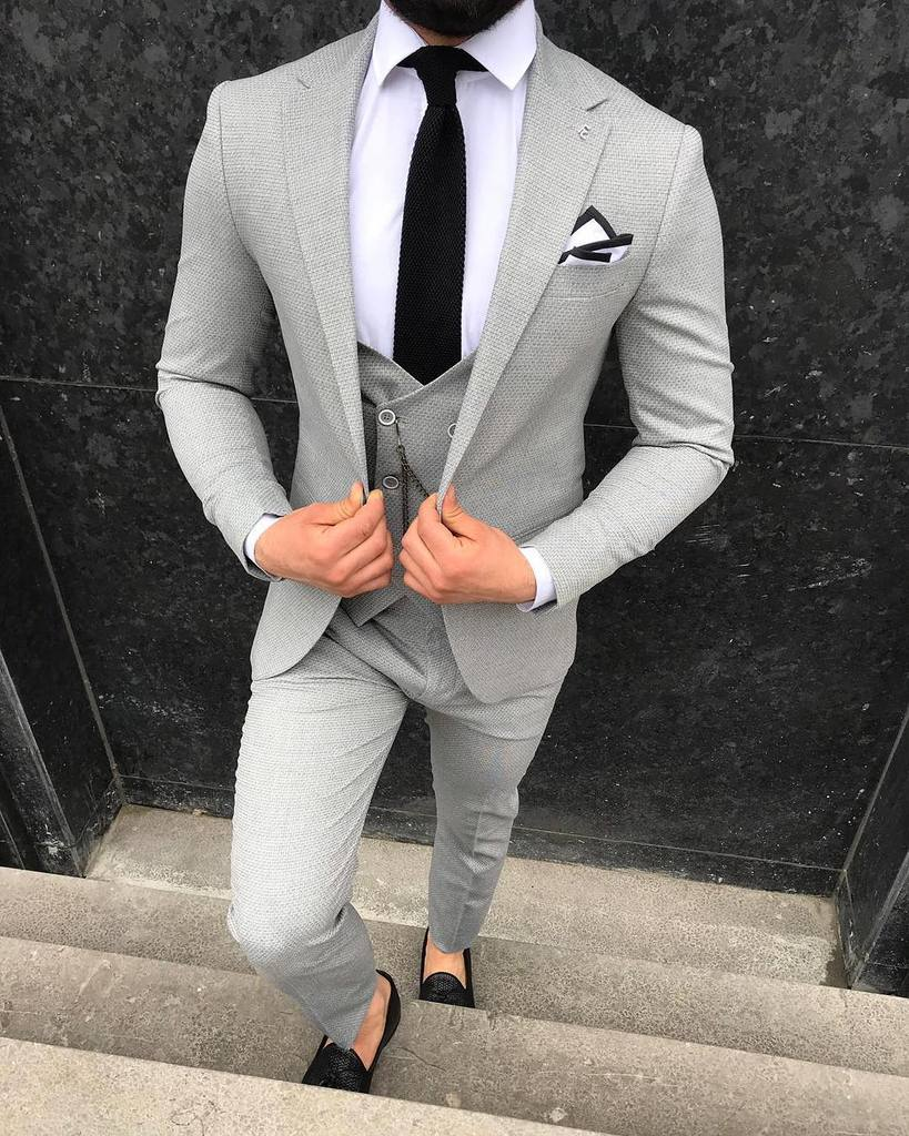 Hunter L-Gray Slim-Fit Suit