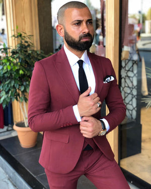Davis Claret Red Slim-Fit Suit