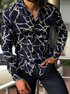 Blake Dark Blue Slim Fit Patterned Shirt