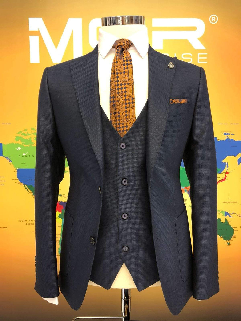 Slim-Fit Plaid Suit Vest Navy-Blue