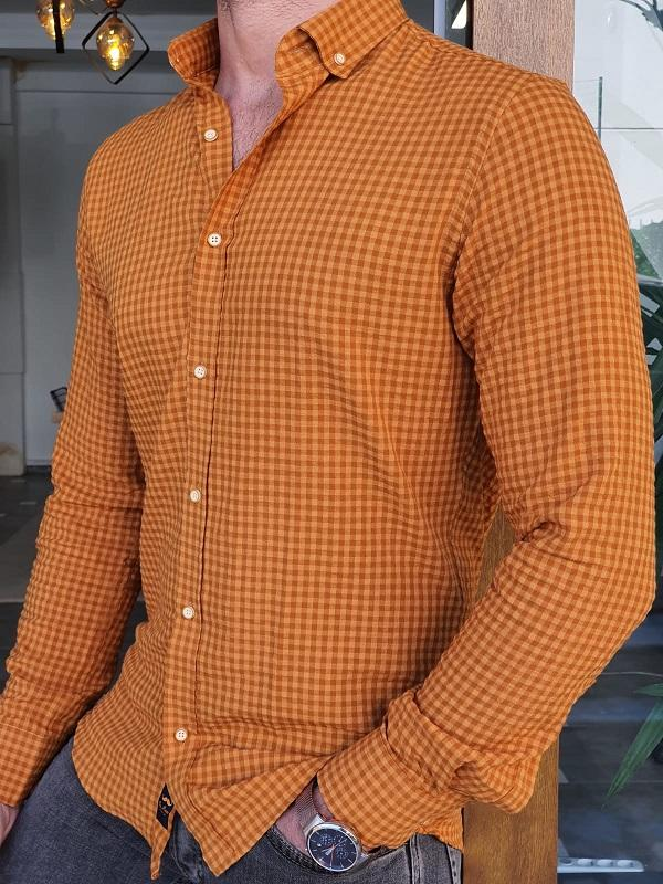 Bala Camel Slim Fit Long Sleeve Checkered Shirt