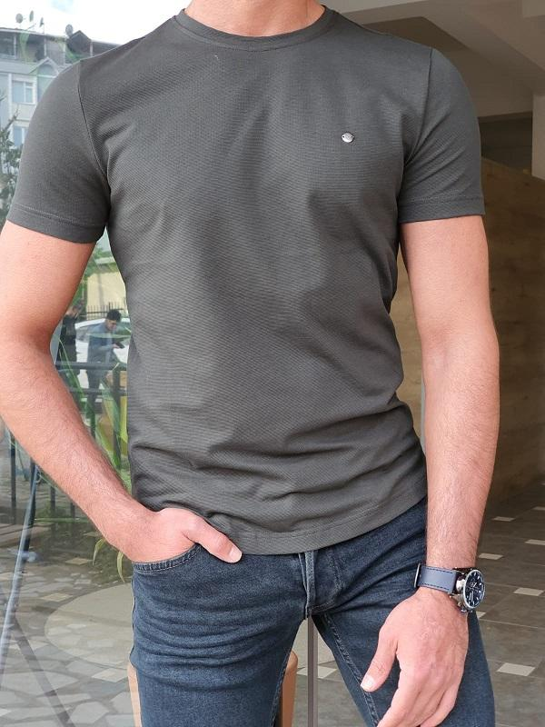Lerno Khaki Slim Fit Round Neck T-Shirt