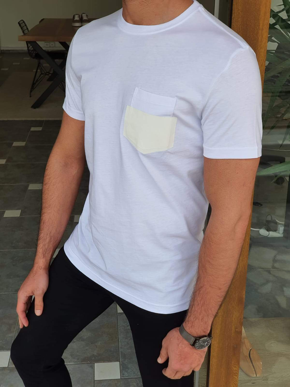 Trento White Slim Fit Crew Neck Cotton T-Shirt