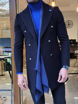 Paruri Navy Blue Slim Fit Wool Long Coat