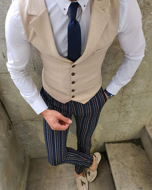 Bellingham Beige Slim Fit Vest