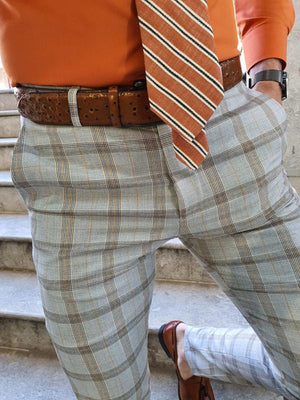 Advert Camel Slim Fit Plaid Pants