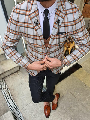 Verno Bellingham Gray Slim Fit Plaid Check Suit