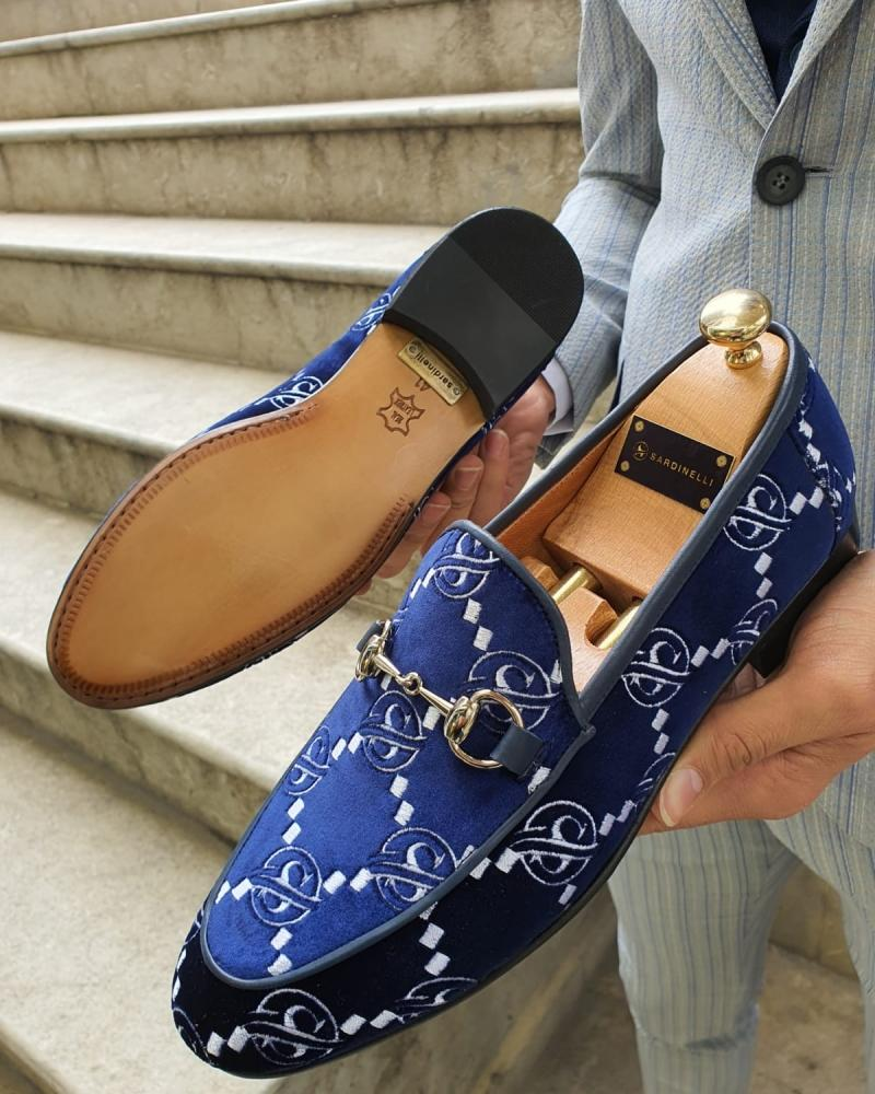 Bellingham Navy Blue Velvet Loafer