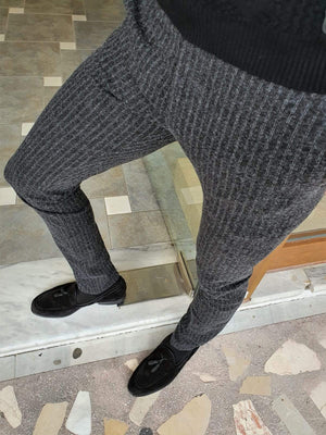 Paruri Black Slim Fit Striped Pants