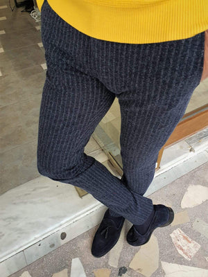 Paruri Navy Blue Slim Fit Striped Pants